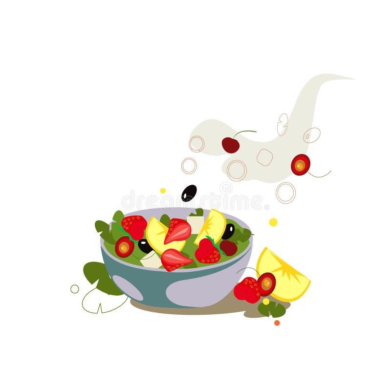 Salade de fruits dans la cuvette en verre Nourriture v?g?tarienne saine illustration de vecteur