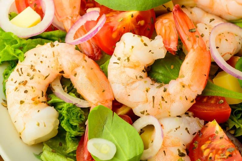 Salade de fruits de mer avec des crevettes images libres de droits