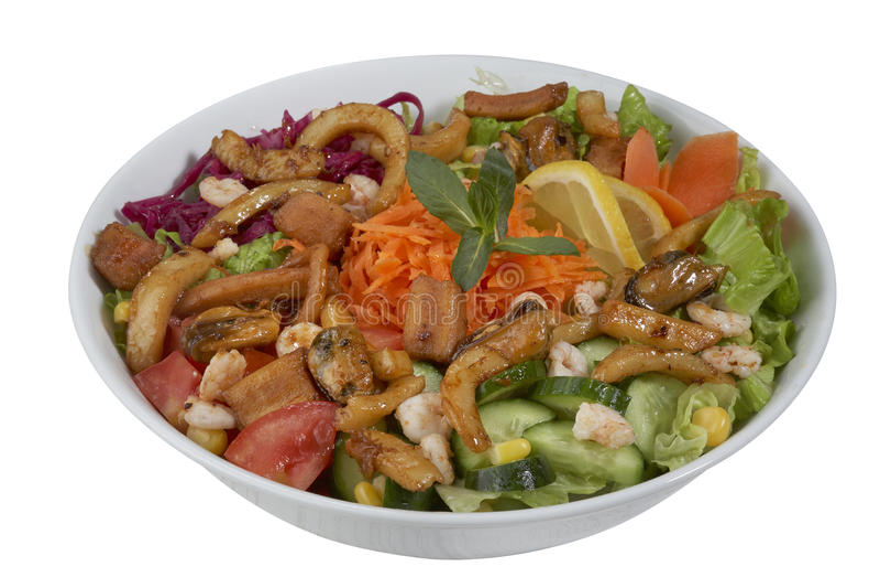 Salade de poissons et de légume sur un fond blanc images libres de droits