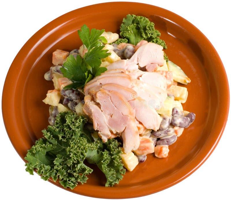 Salade de pomme de terre et d'haricot avec le poulet photographie stock libre de droits