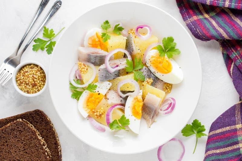 Salade de pomme de terre avec des harengs, oeuf, oignon, casse-croûte savoureux avec de la moutarde image stock
