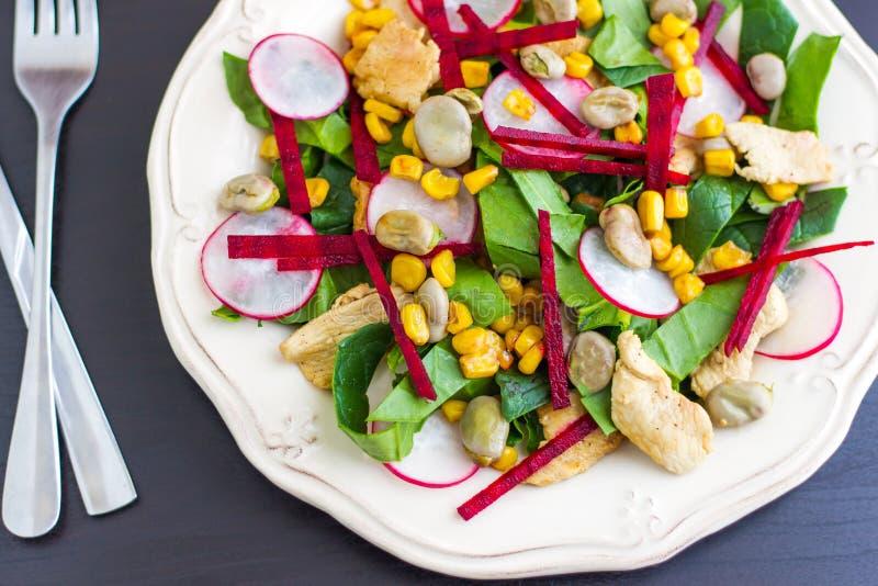 Salade de poulet avec Lima Beans, des betteraves et des épinards photos libres de droits