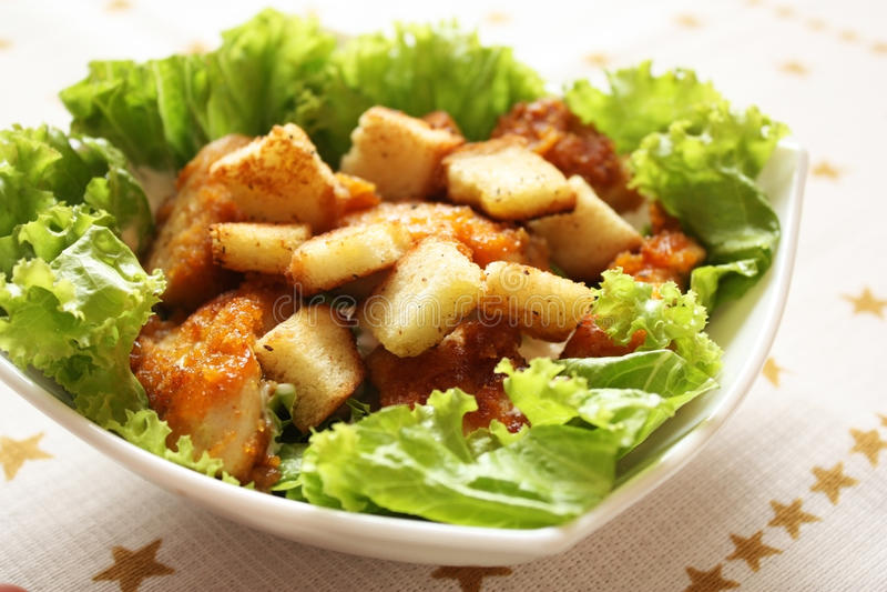 Salade de poulet de César image libre de droits