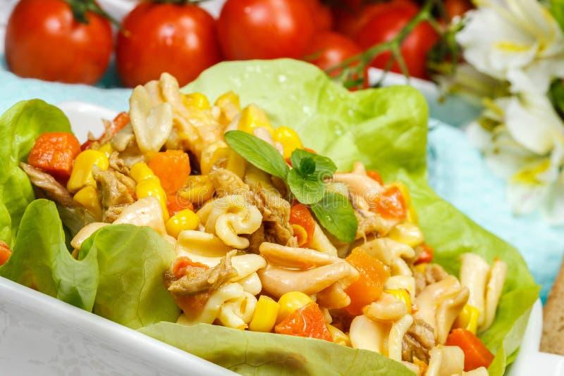 Salade de thon avec des pâtes images libres de droits