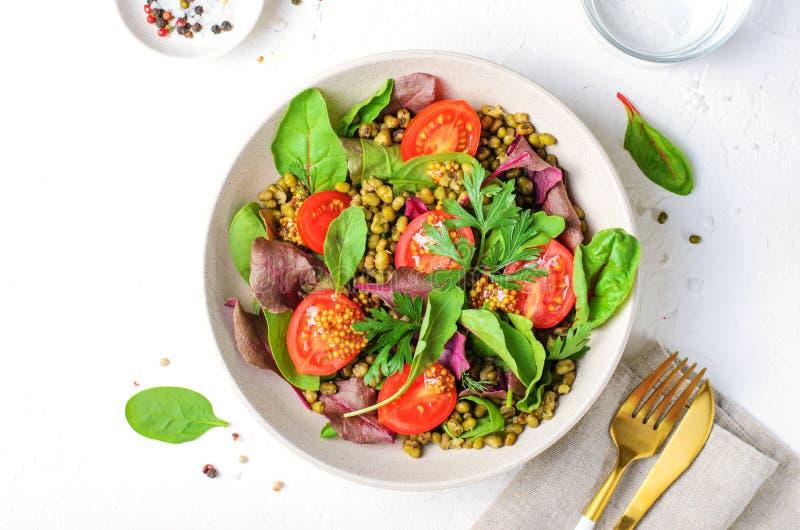 Salade de tomate Mung Bean Cherry, délicieuse cuisine végétarienne photographie stock libre de droits