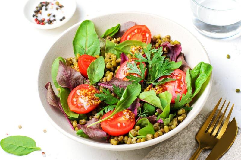 Salade de tomate Mung Bean Cherry, délicieuse cuisine végétarienne images libres de droits