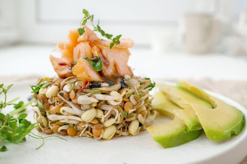 Salade des graines, de la truite et de l'avocat germés Concept macrobiotique de nourriture image libre de droits