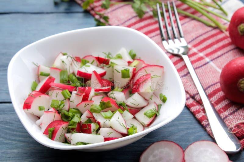 Salade des radis frais et des herbes fraîches sur une table en bois bleue Salade de l?gume de ressort Ingr?dients pour faire cuir images stock