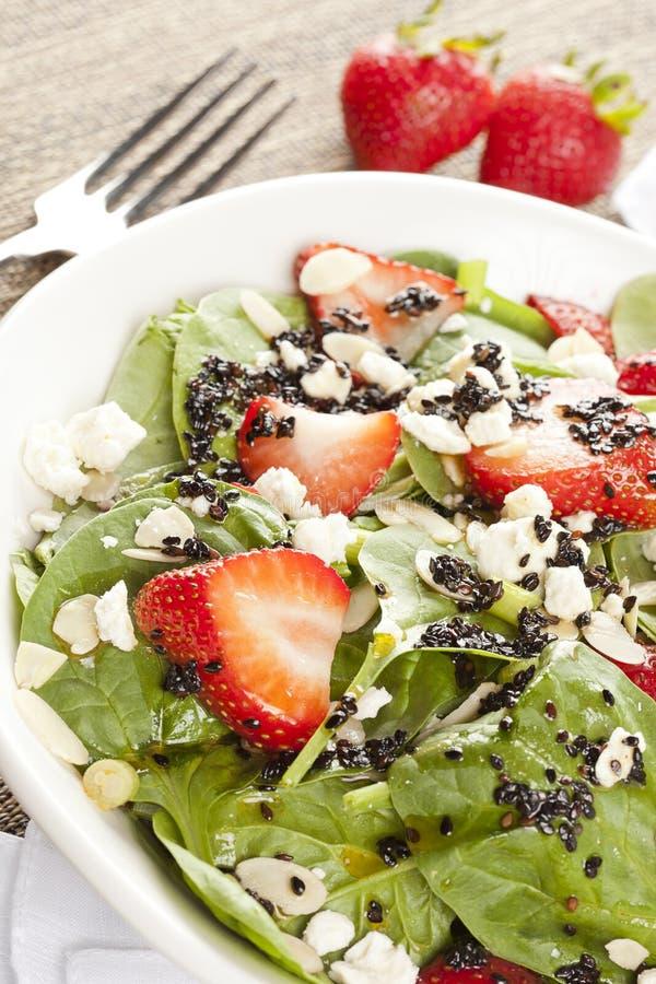 Salade faite maison fraîche d'épinards de fraise images libres de droits