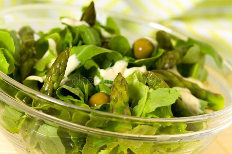 Salade fraîche avec de la laitue, asperge verte, olives images libres de droits