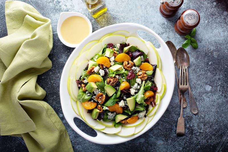 Salade fraîche avec du fromage, des noix, des pommes et des mandarines de bleu image stock