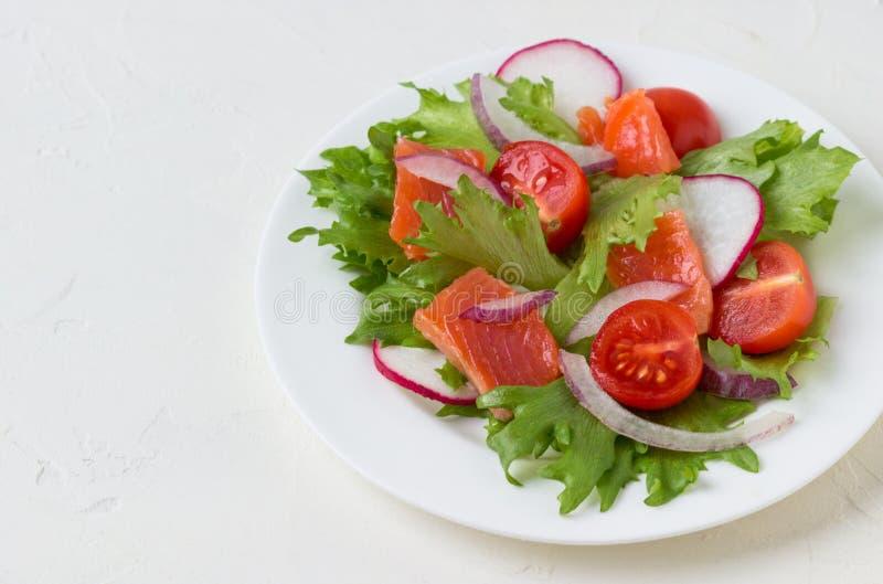 Salade fraîche des saumons et des légumes images libres de droits
