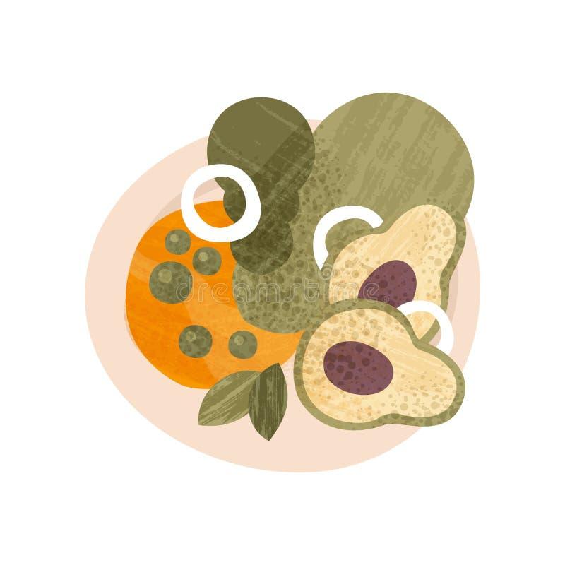 Salade fraîche faite de légumes organiques Nourriture saine Plat appétissant pour le dîner Icône plate de vecteur avec la texture illustration stock