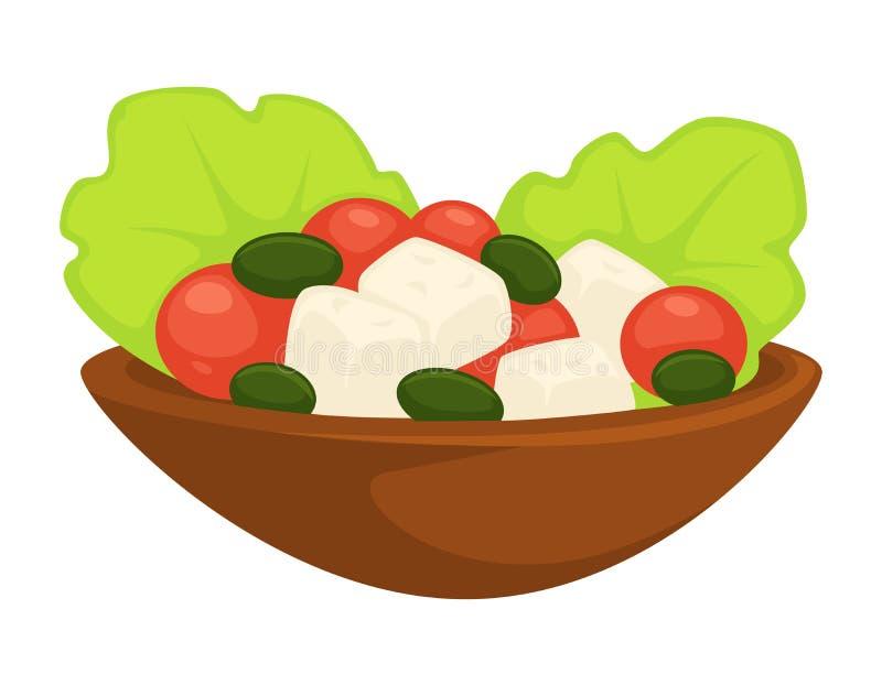 Salade grecque César dans le vecteur de repas servi par plat illustration libre de droits