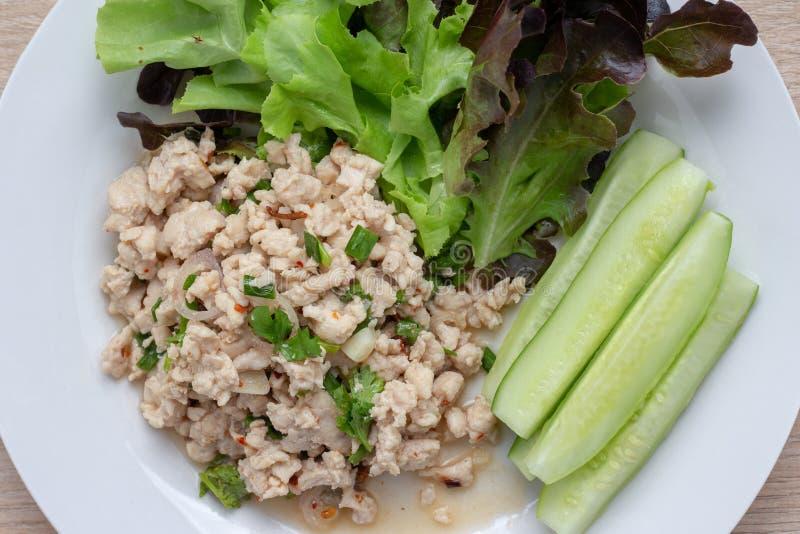 Salade hachée épicée de porc Nettoyez la nourriture photo libre de droits