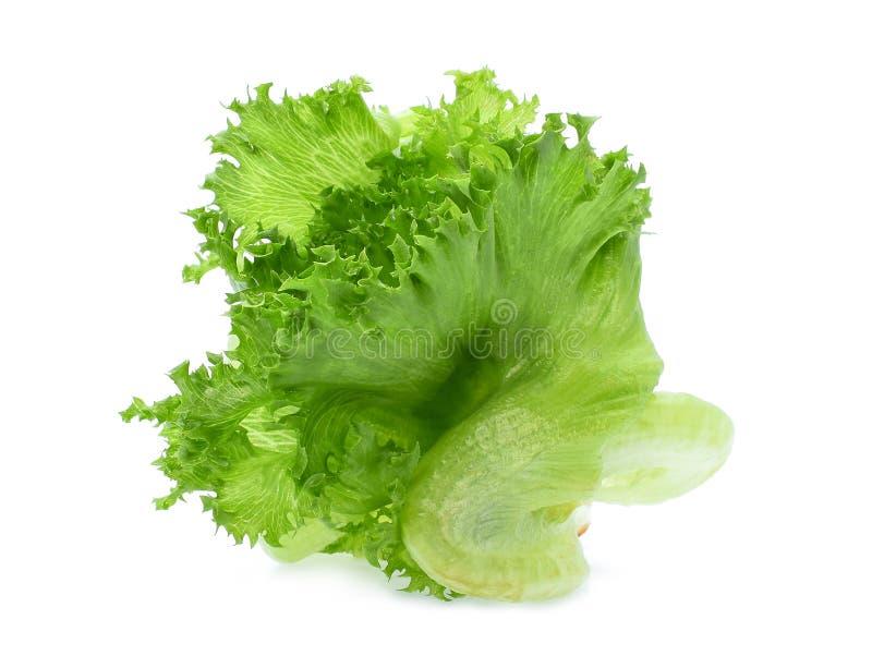 Salade 'Iceberg' verte de frillice d'isolement sur le blanc image stock