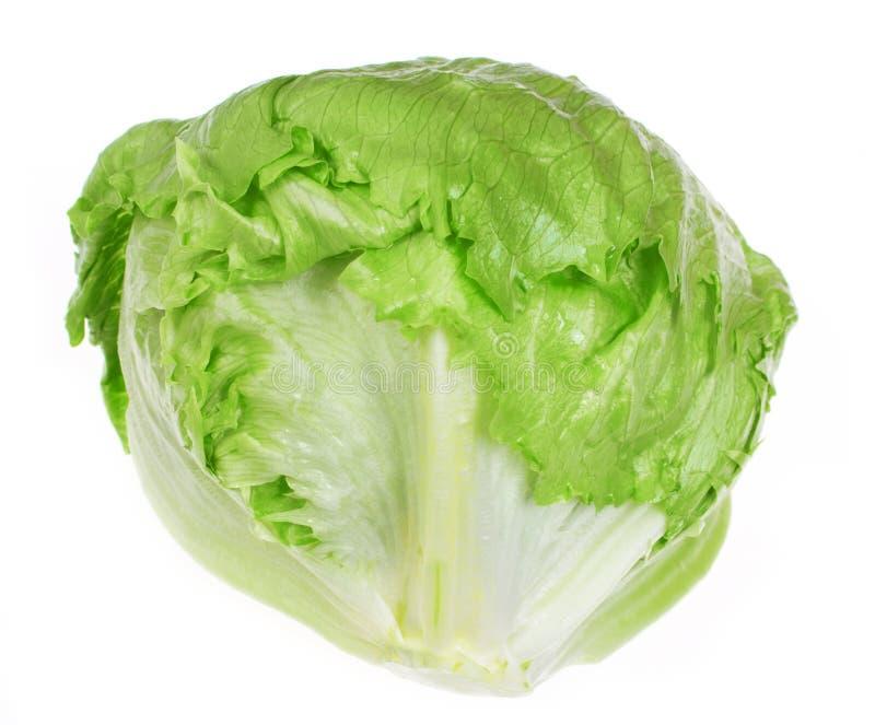 Salade 'Iceberg' verte sur le fond blanc photo libre de droits