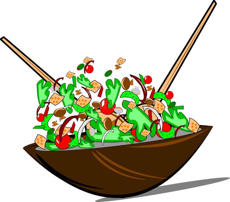 Salade jetée en l'air au-dessus de blanc illustration libre de droits