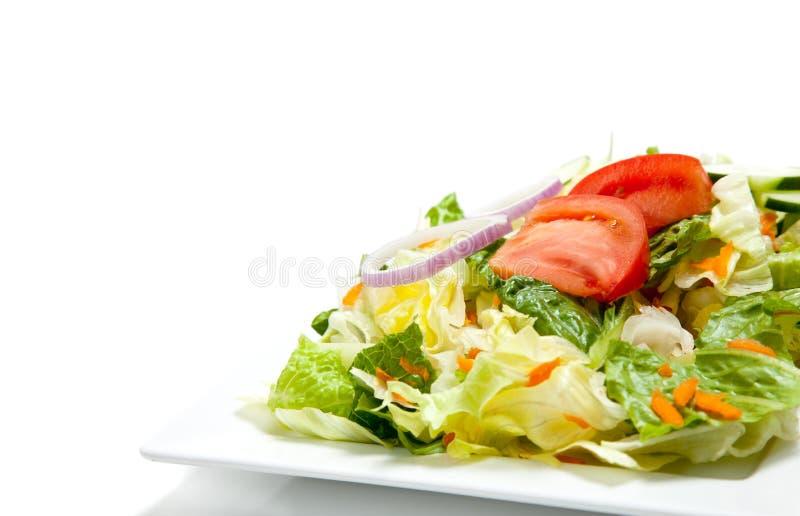 Salade jetée en l'air d'une plaque sur un fond blanc image libre de droits