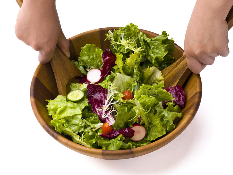 Salade jetée en l'air de jardin image libre de droits