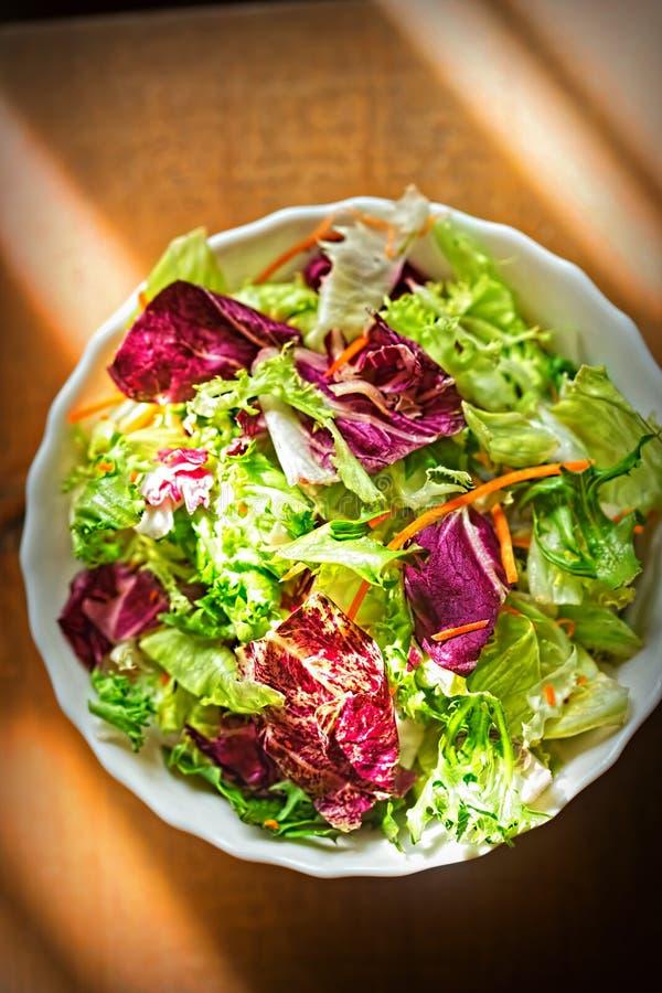 Salade mélangée de feuilles - verts avec de la salade de radicchio et la carotte râpée photos libres de droits