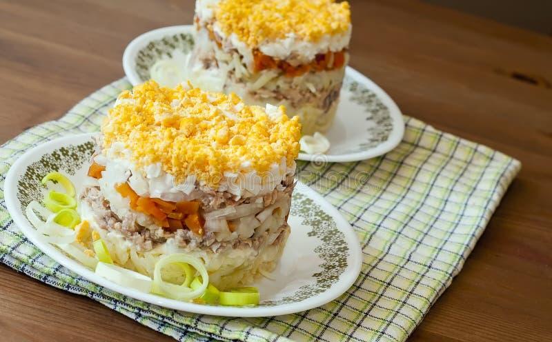 Salade met een vis en eieren stock foto