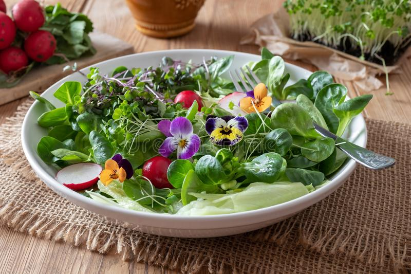 Salade met eetbare pansies en verse broccoli en boerenkool microgreens royalty-vrije stock foto