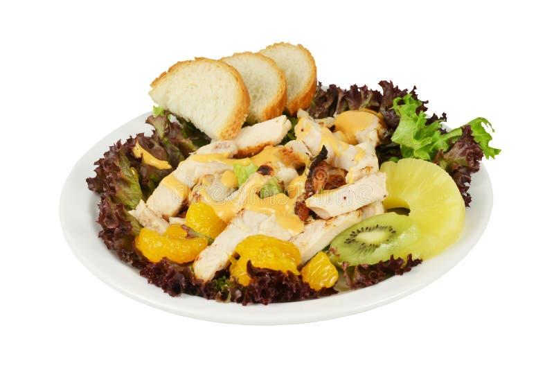 Salade met gerookte kip en groenten. royalty-vrije stock fotografie