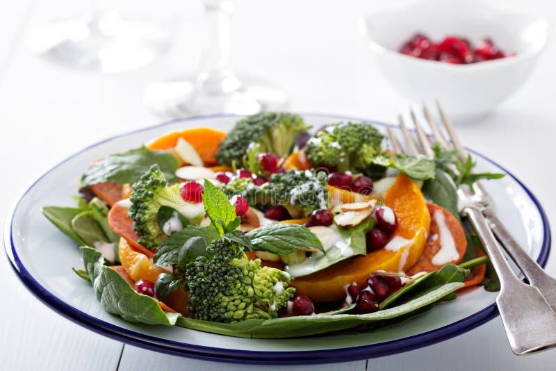 Salade met groenten, pepperonis en pomergranate royalty-vrije stock afbeeldingen