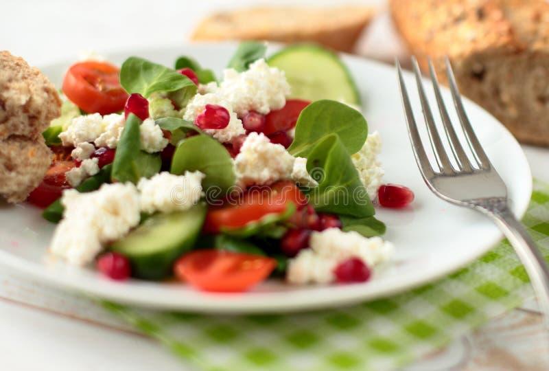 Salade met kaas en spinazie stock afbeelding