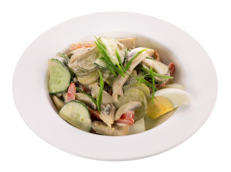 Salade met kip en verse groenten royalty-vrije stock fotografie
