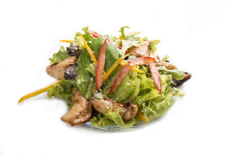 Salade met kip Teriyaki en groenten Aziatische Lunch royalty-vrije stock foto's