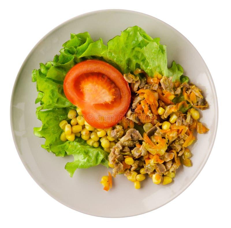 Download Salade Met Kippenmagen Met Wortelen En Graan En Salade Op A Stock Foto - Afbeelding bestaande uit vlees, arugula: 114228050