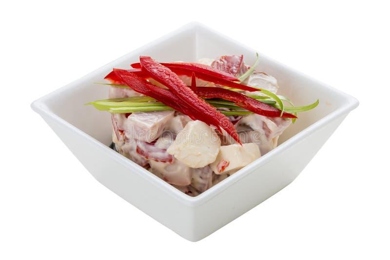 Salade met kool, ham en greens stock fotografie