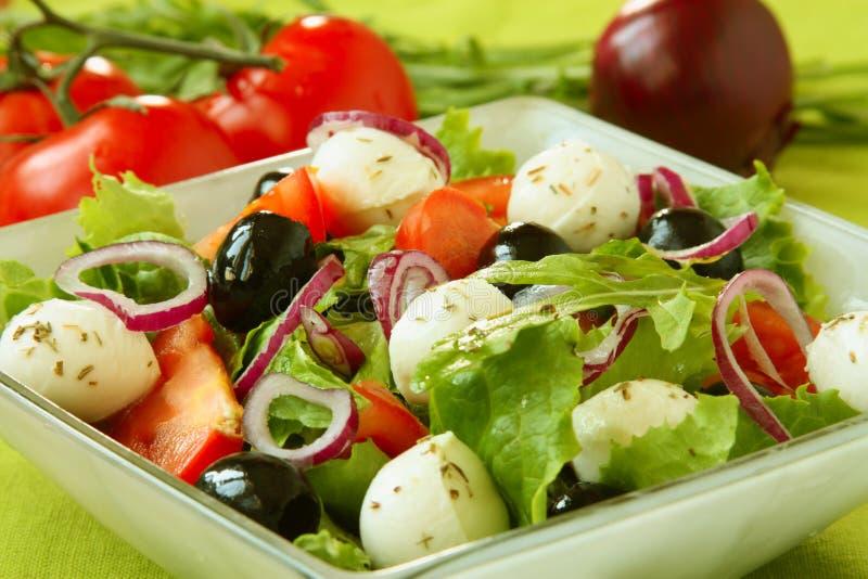 Salade met mozarella en tomaten stock fotografie