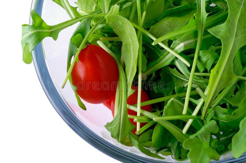 Salade met rugola stock foto's