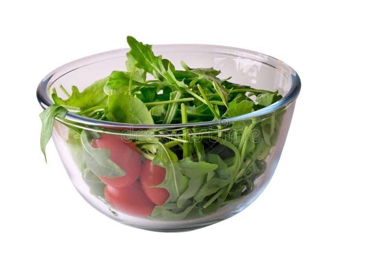 Salade met rugola en tomaat stock foto