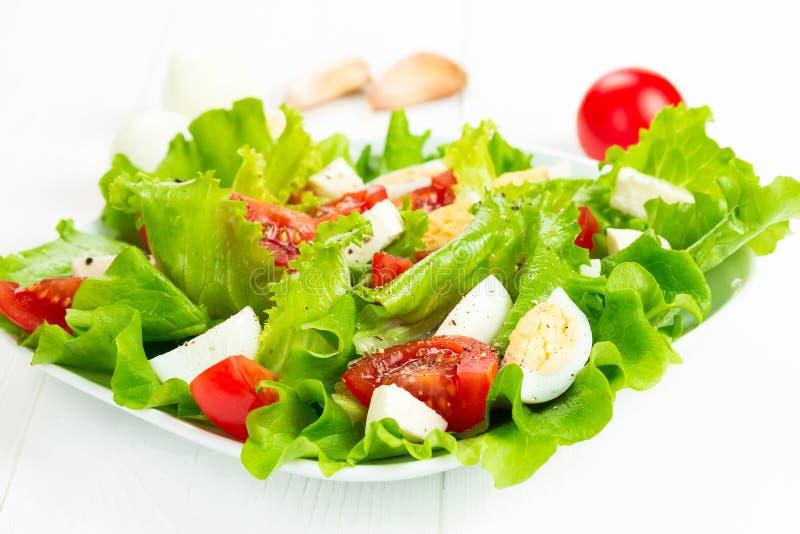 Salade met tomaten en mozarella stock afbeelding