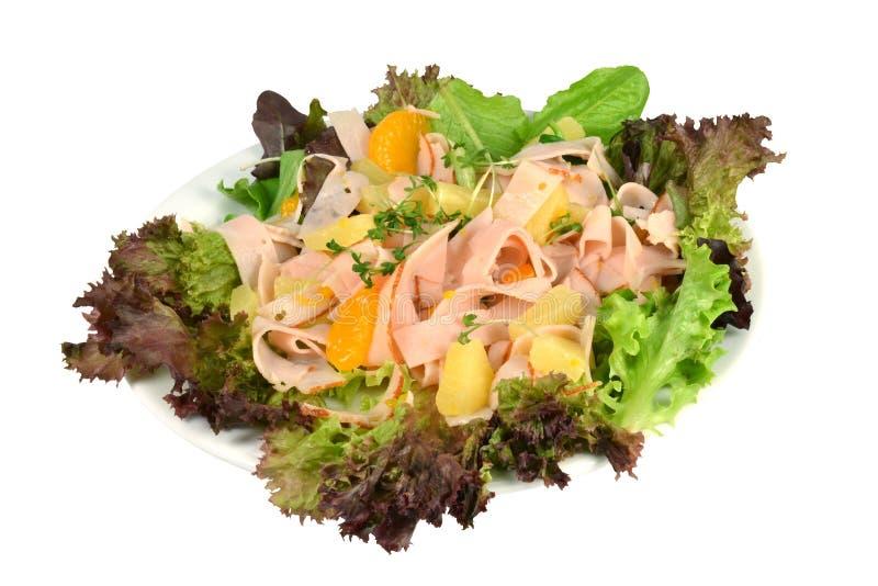 Salade met Turkije en ananas. royalty-vrije stock foto