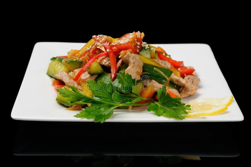 Salade met varkensvlees stock fotografie