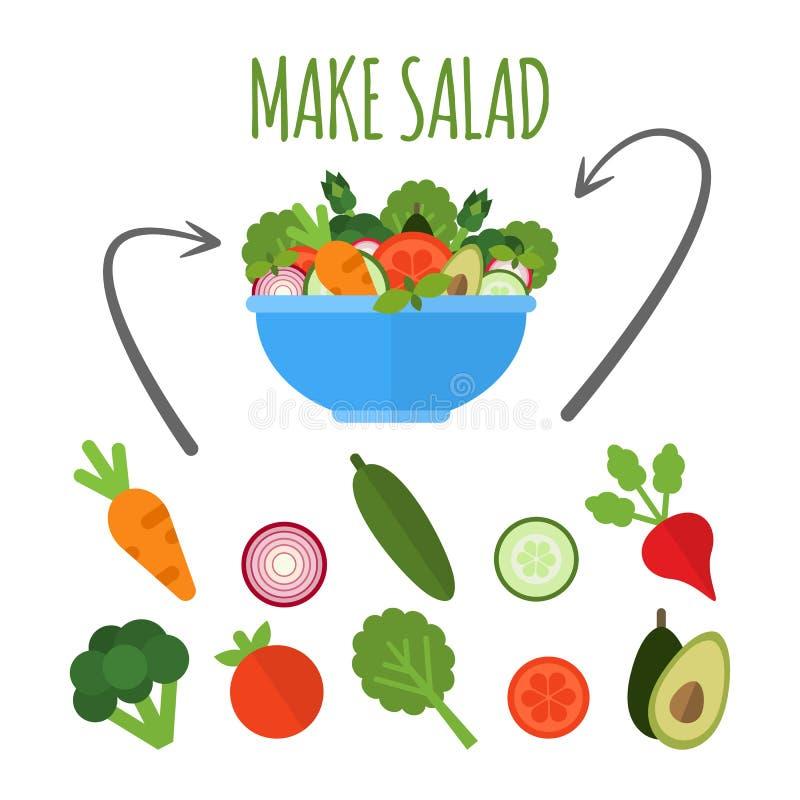 Salade met verse groenten in blauwe die kom op witte achtergrond wordt geïsoleerd Maak saladeconcept Toepasselijke reeks groenten royalty-vrije illustratie