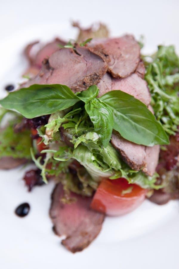 Salade met vlees en basilicum stock afbeelding