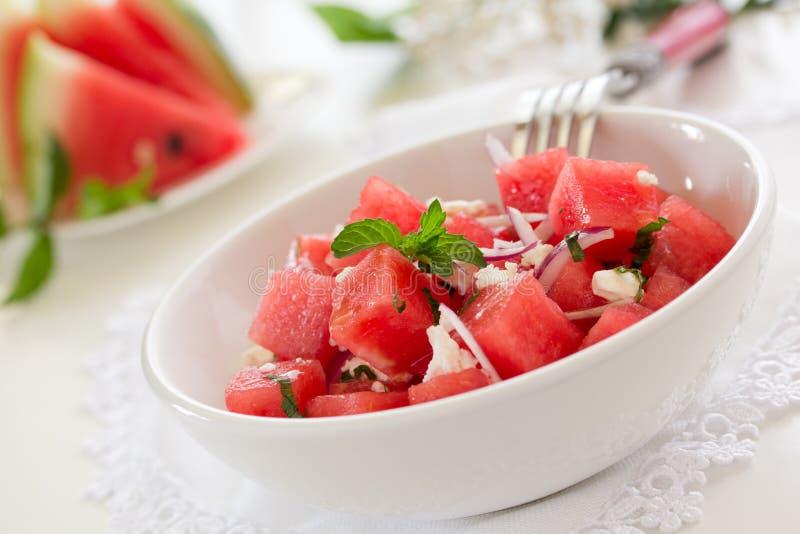 Salade met watermeloen, royalty-vrije stock fotografie
