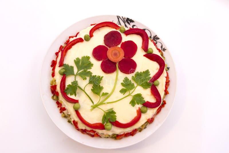 Salade Olivier (salade de Boeuf ou salade russe) photographie stock libre de droits