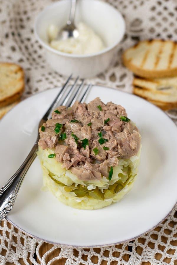 Salade posée avec les pommes de terre râpées, le fromage, les conserves au vinaigre et le foie de morue en boîte images stock