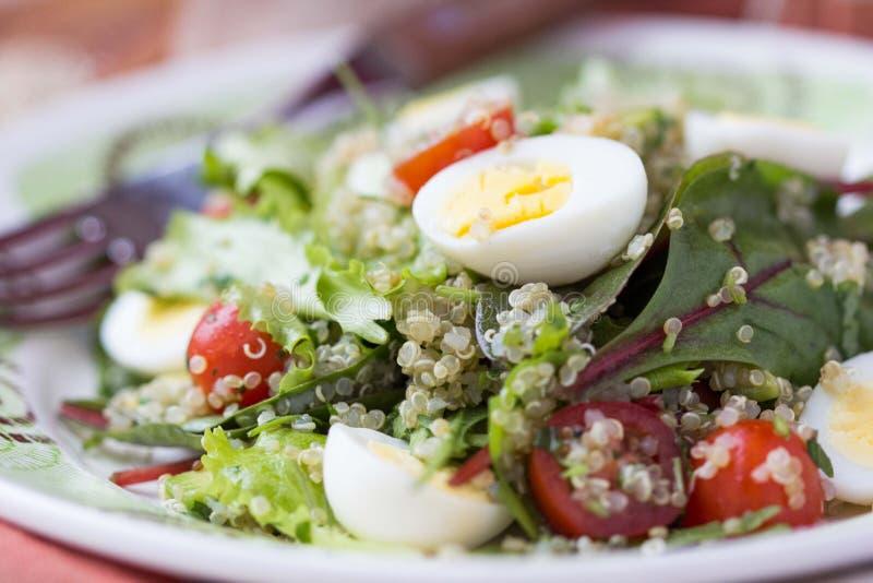 Salade saine de quinoa avec des tomates, avocats, oeufs, herbes photos stock