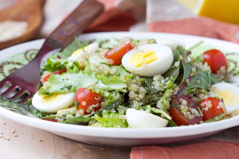 Salade saine de quinoa avec des tomates, avocats, oeufs, herbes images stock