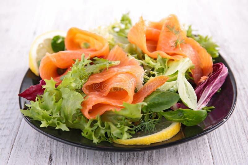 Salade végétale avec des saumons images stock