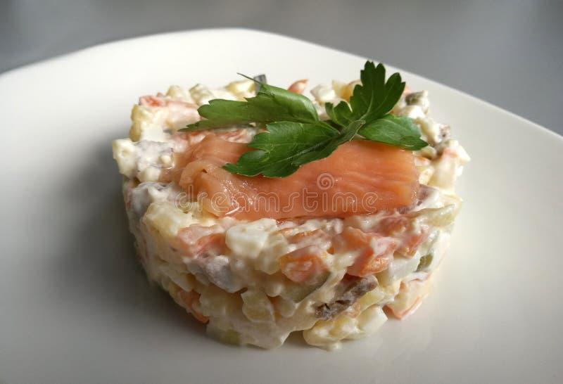 Salade végétale avec les poissons rouges dans un plat blanc image libre de droits