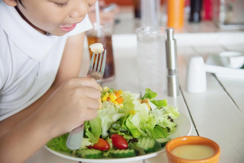 Salade végétale tout préparée heureuse de garçon images libres de droits
